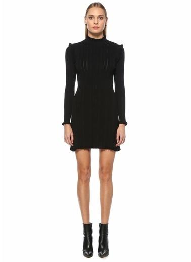 Academia Academia 101508374 Dik Yaka Uzun Kol Mini Triko Kadın Elbise Siyah